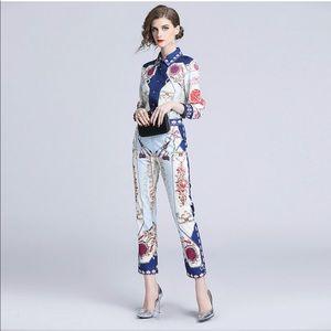 Silk scarf print blouse & matching pant ensemble L